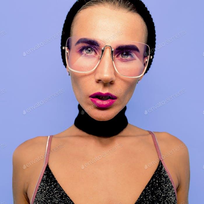 Tomboy Sexy Girl  in fashionable glasses, Choker Beanie Cap. Swa