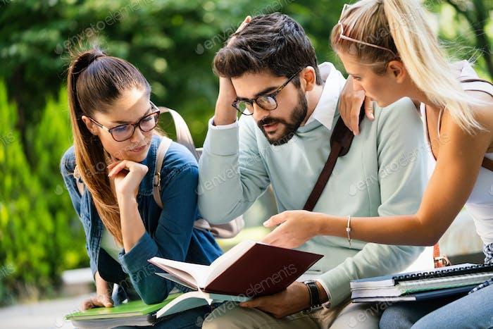 Grupo de estudiantes universitarios felices estudiando juntos y divirtiéndose al aire libre