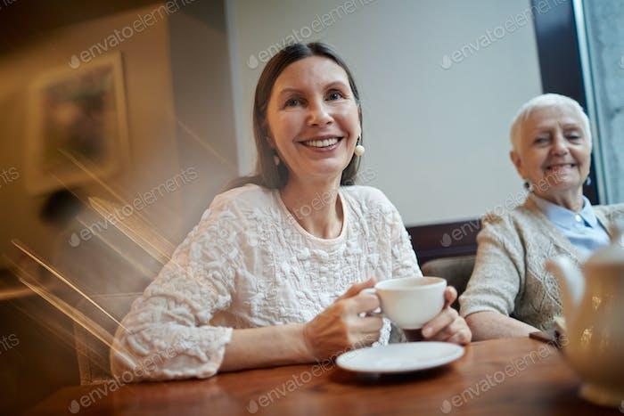 Pensioner in cafe