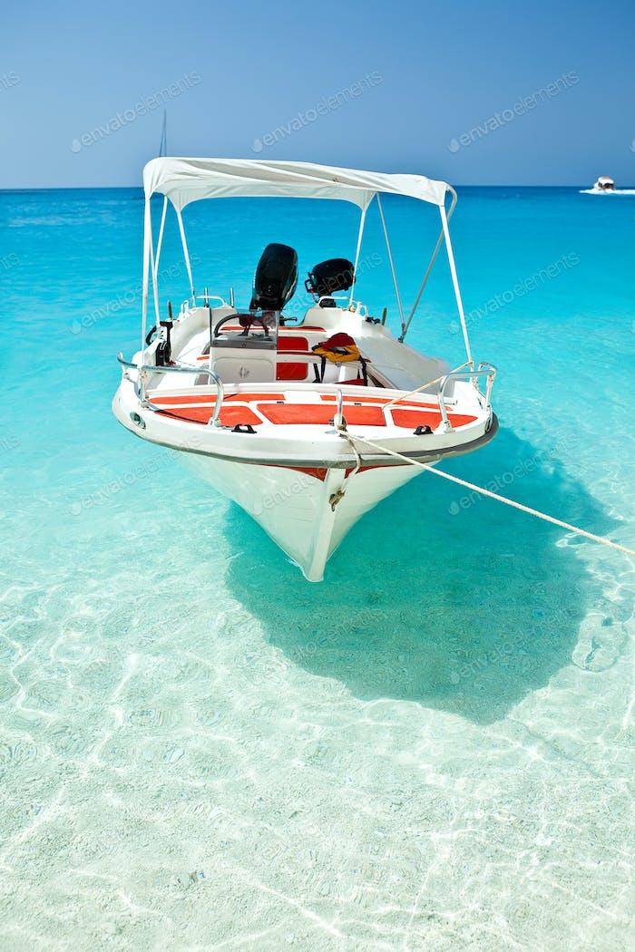 Small boat moored at Wreck Bay, Zante (Zakynthos)