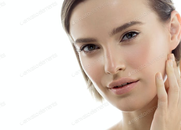Beautiful woman portrait with fresh daily make-up blonde hair and healthy skin