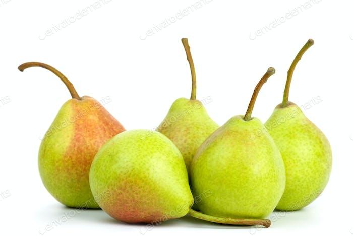 Five green pears