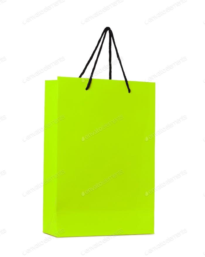 grüne Einkaufstasche isoliert
