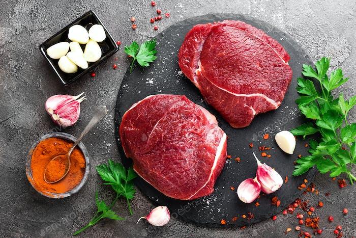 Raw beef meat. Fresh beef steaks