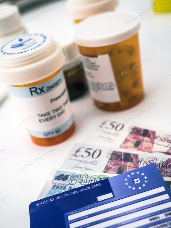 European health insurance card along with several capsules