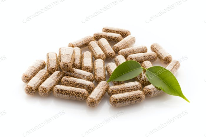 Capsule with a homeopathic granule contents.