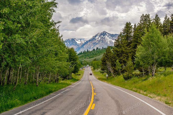 Highway in Grand Teton National Park
