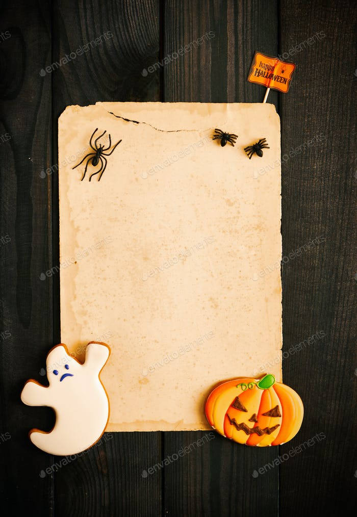 Thumbnail for Halloween invitation over wooden background
