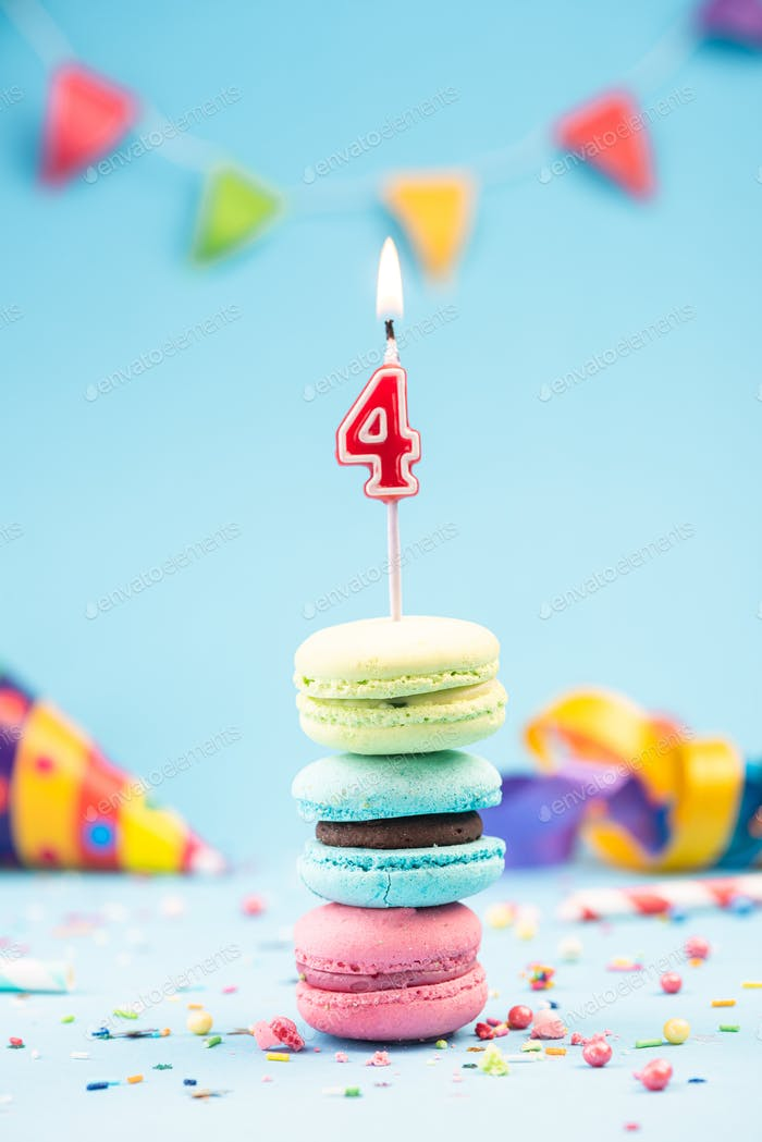 Fourth 4th Birthday Card with Candle in Colorful Macaroons and S