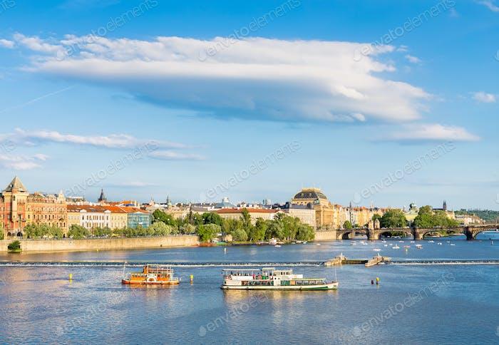 Tourist ships on Vltava river