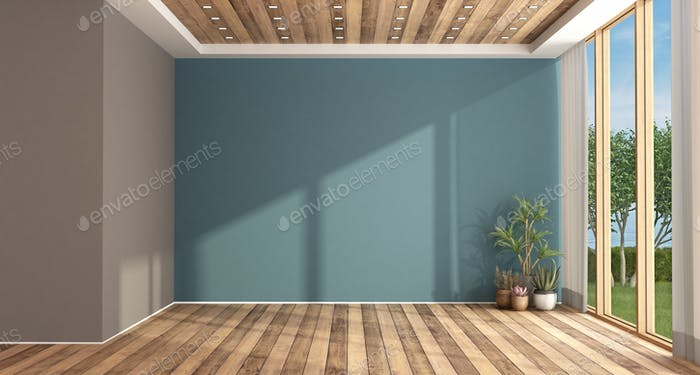 Empty blue and brown living room
