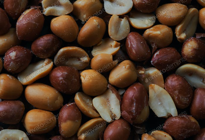 Close-up view of peeled and roasted peanuts