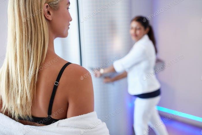 Young woman going for cryo sauna