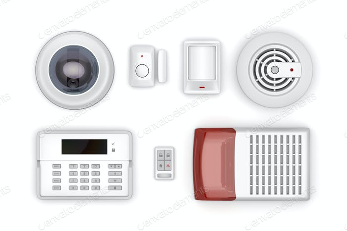 Set of security electronic devices