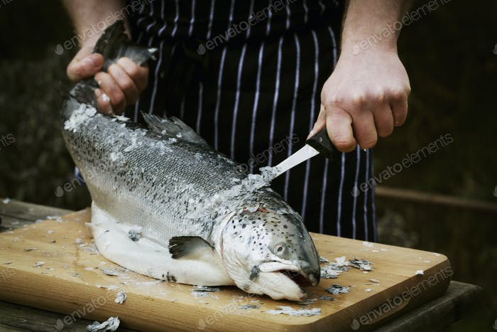 Close up of a chef scaling a fresh fish.