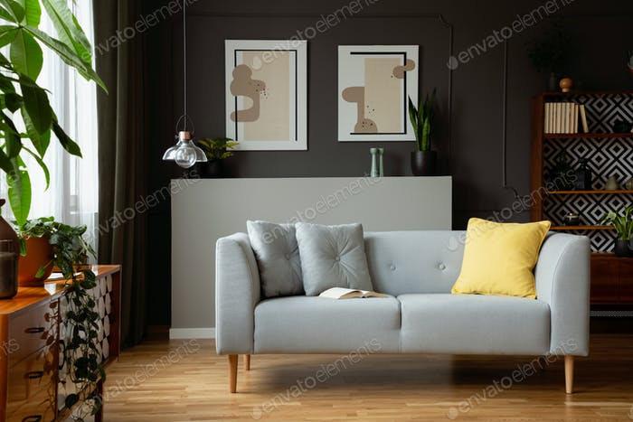 Yellow Pillow On Grey Settee In Retro Living Room Interior With Foto Classy Vintage Living Rooms