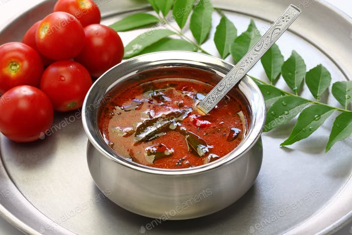 tomato rasam kerala style, south indian food