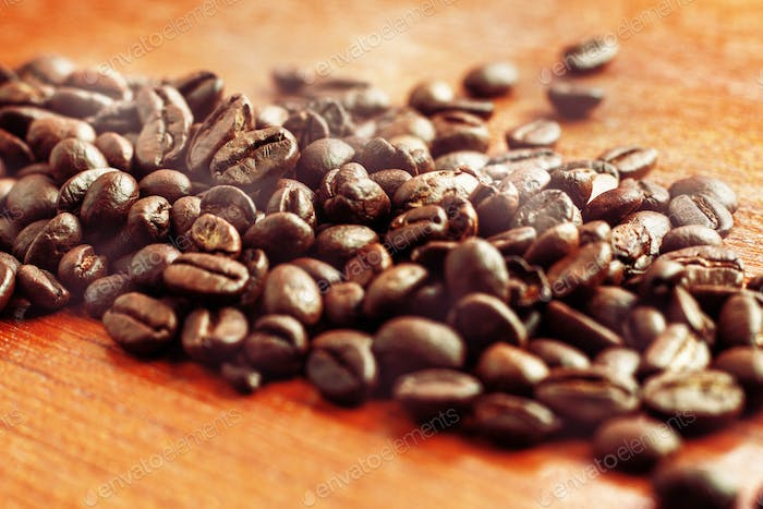 coffee roasted on wooden