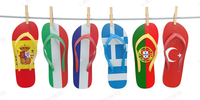 Hanging flip flops in colors of  different mediterranean europea