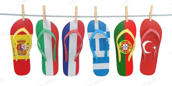 Hanging flip flops in colors of  different mediterranean europea