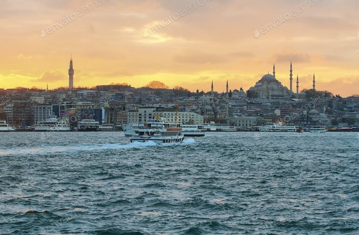 Istanbul skyline at sunset