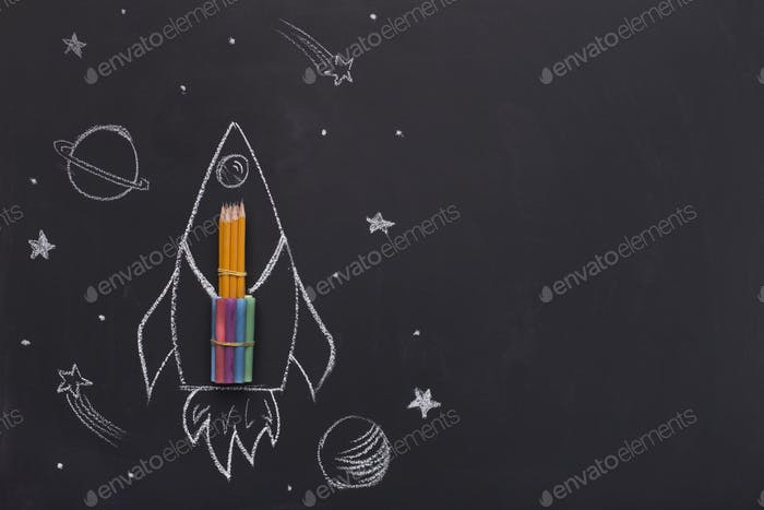 Creative school stationery promotion for advertisement on black