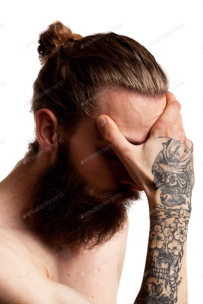 Cool guy with long beard over white background