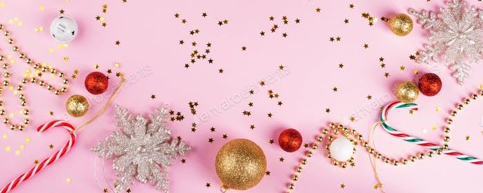 Christmas flat lay frame banner on pink paper