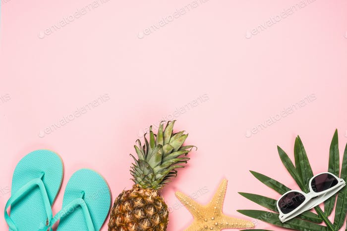 Summer flat lay background on pink