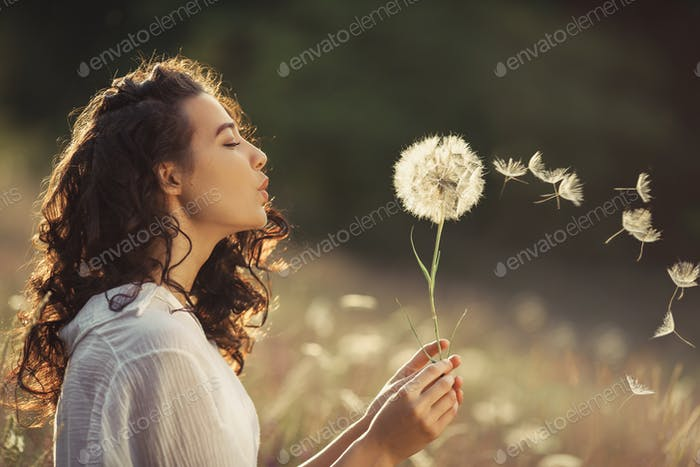 Beautiful Young Woman Blows Dandelion in a Wheat field in the Summer Sunset. Beauty Summer Concept