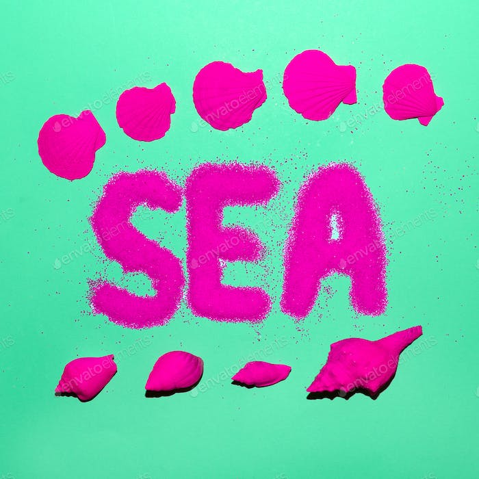 Sea Style Shells Minimal Art Neon Beach