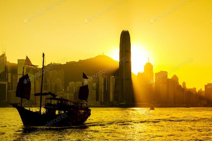 Hong Kong sunset at Victoria Harbor