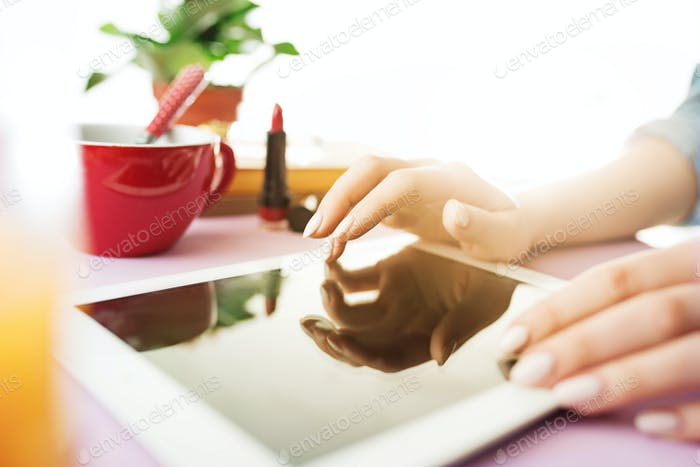 Woman and fruit diet while working on computer in office