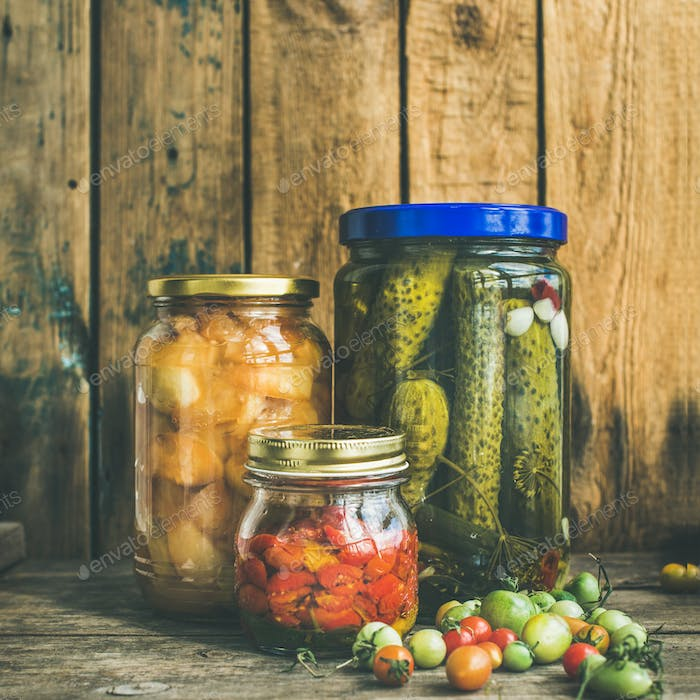 Autumn pickled vegetables in jars, copy space, square crop