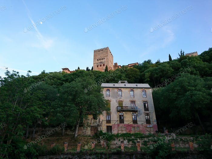 """Views of the old  """"Hotel of the woods"""" and the Alhambra at sunset"""