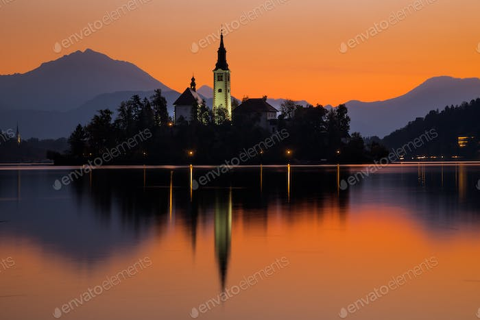 Sunrise on Bled Lake with Pilgrimage Church, Bled, Slovenia, Europe