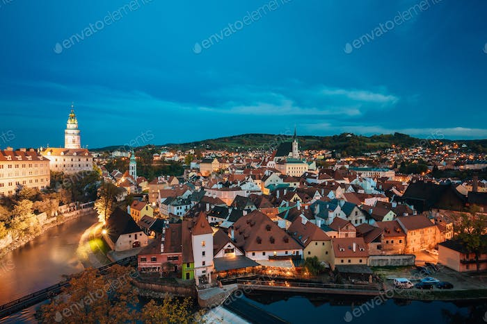 Cesky Krumlov, Czech Republic. Famous Town And Popular Touristic