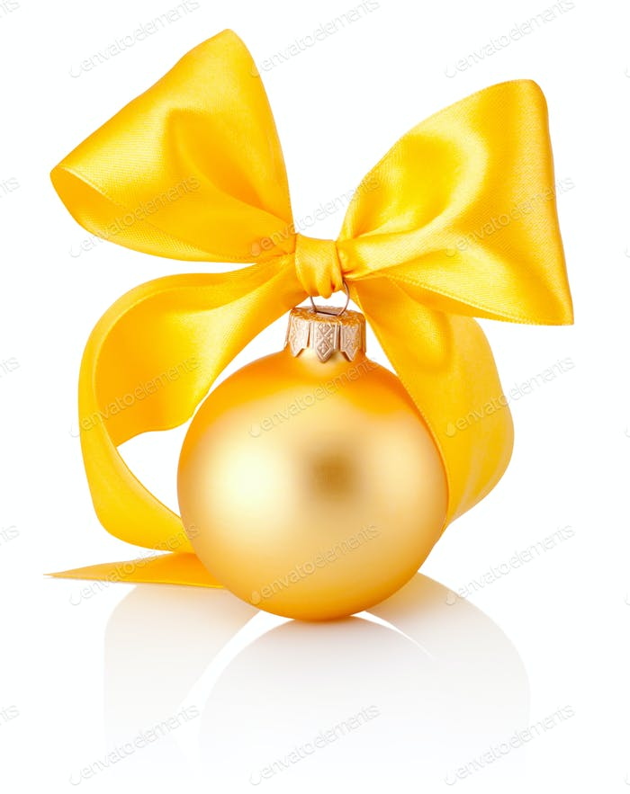 Christmas golden bauble with yellow ribbon bow isolated on white