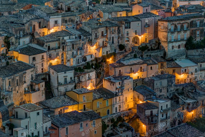 Detail of Ragusa Ibla at night