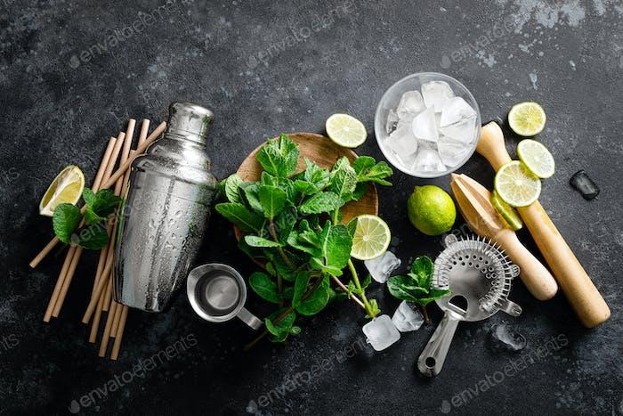Мохито ингредиенты и барная посуда