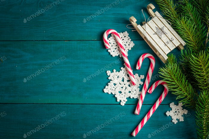 Christmas decorations and branches of spruce