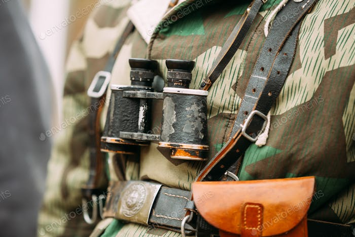 Close Up Of German Military Binoculars Of A German Soldier On Re