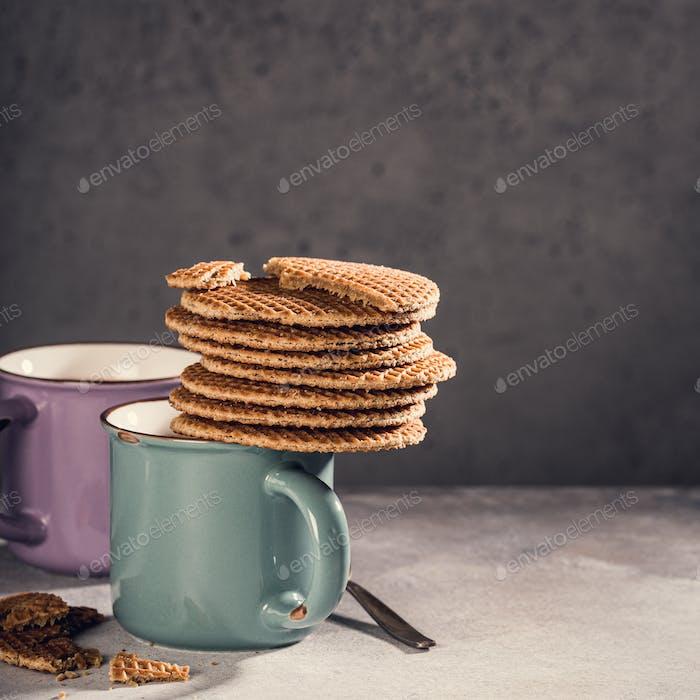 Traditionelle holländische Cookies SirupWaffeln