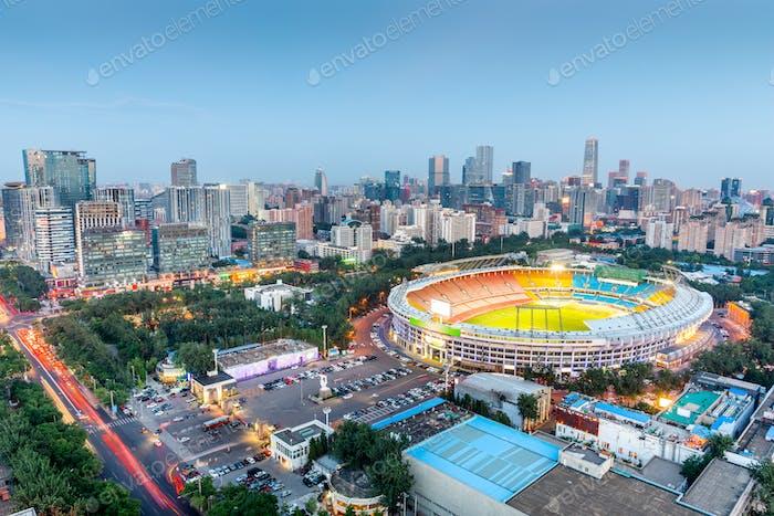 Beijing, China skyline and stadium