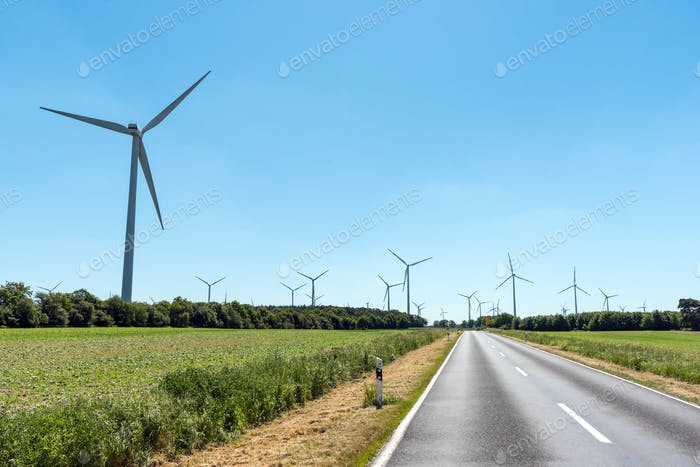 Wind power plants and a country road