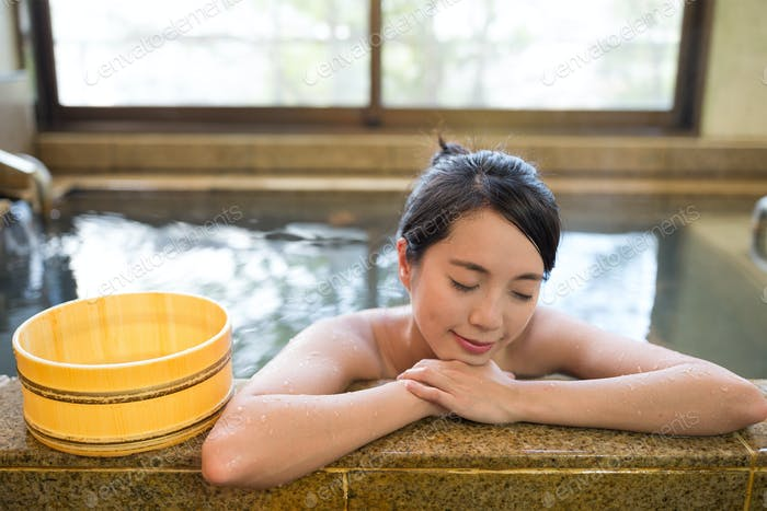 Woman having onsen