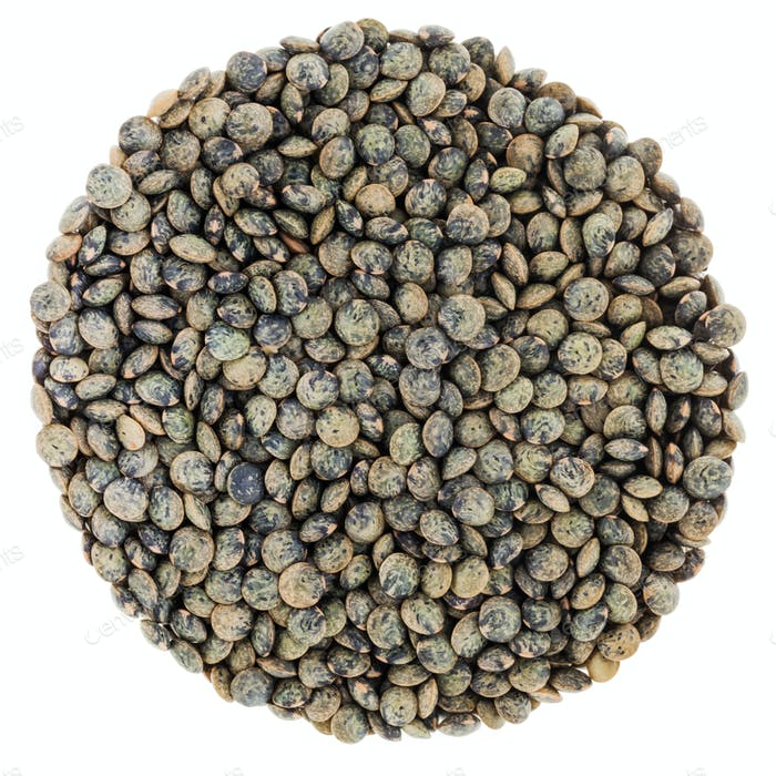 French Green Lentils Circle Isolated on White Background