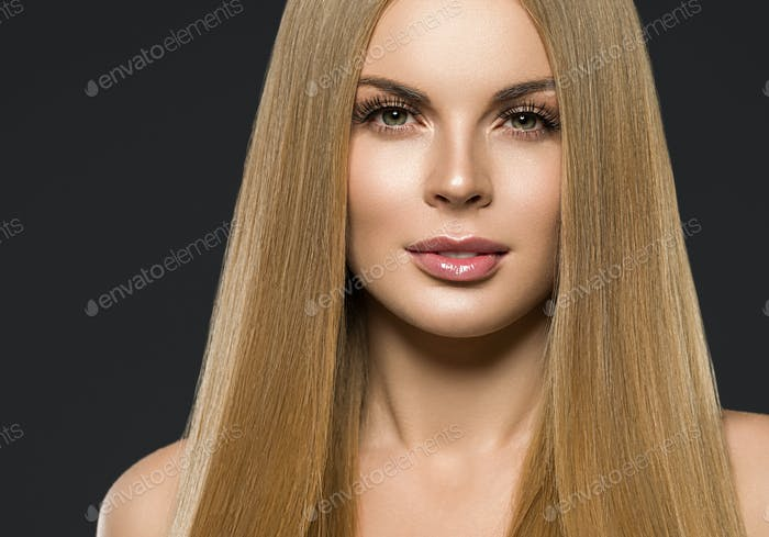 Color make up woman with long hair blond color purple background