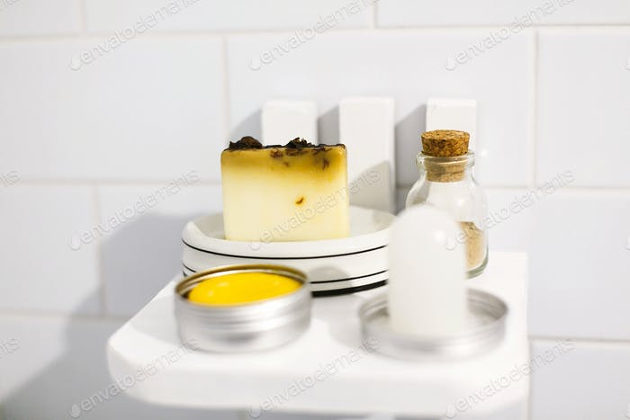 Zero waste bathroom concept. Eco natural shampoo in metal can,  deodorant