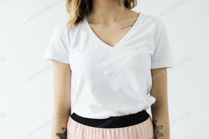 Woman in a white t-shirt mockup